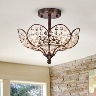Gerace Hanging Lotus 4-Light Semi Flush Mount by Astoria Grand