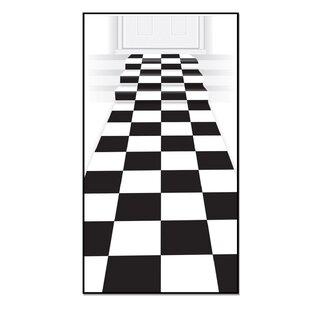 Checkered Black White Area Rug