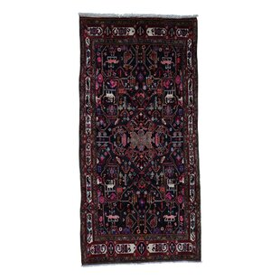 Affordable One-of-a-Kind Hollowell Wide Hand-Knotted Runner 5' x 10'2 Wool Black Area Rug By Isabelline