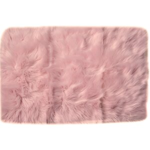 Charlotte Faux Sheepskin Soft Shag Hand-Woven Light Pink Area Rug