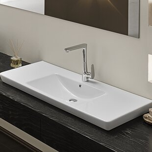 CeraStyle by Nameeks Porto Ceramic Rectangular Wall Mounted or Drop In Bathroom Sink with Overflow
