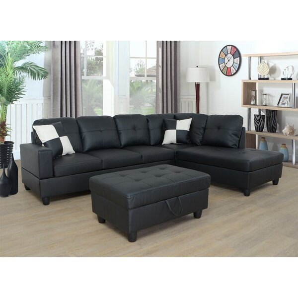 ebern designs aba 1035 faux leather sofa chaise with ottoman c
