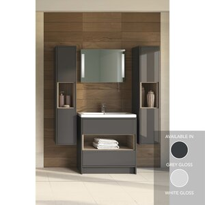 Badezimmer-Set Coast mit Spiegel mit Hintergrund..