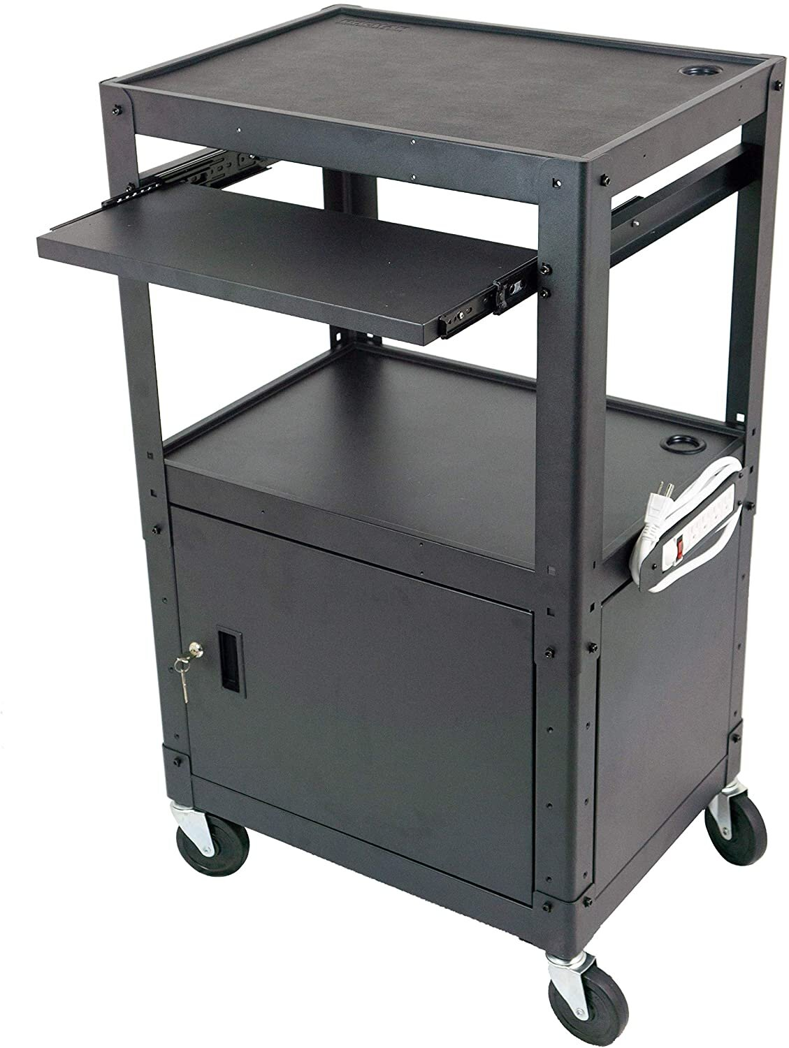 Pochar Av Cart With Locking Cabinet And Power Outlets Wayfair