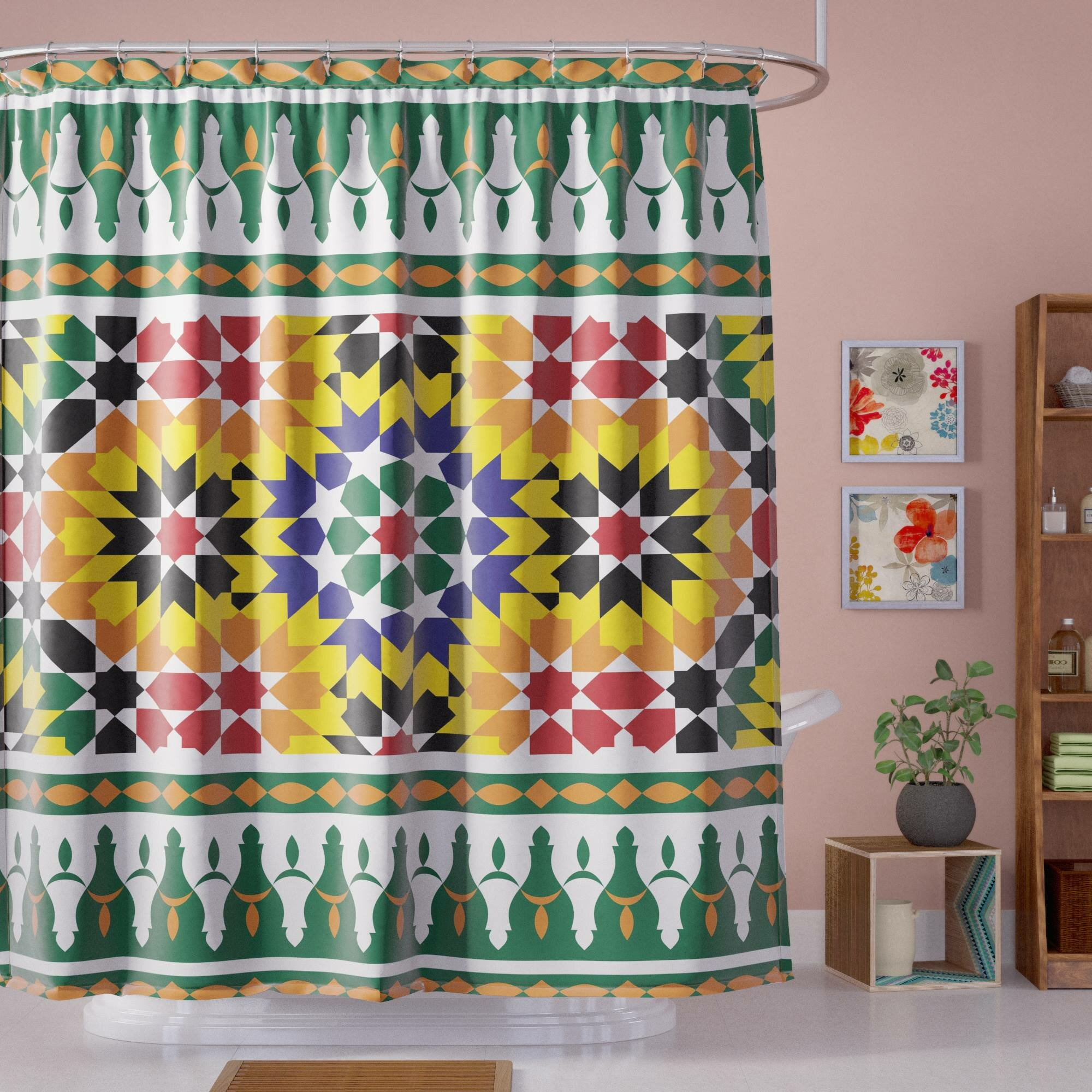 Bloomsbury Market Atkinson Vibrant African Pattern Shower Curtain ...
