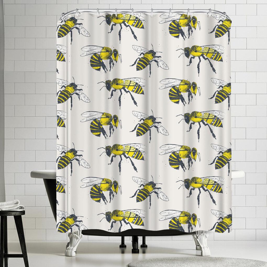East Urban Home Bees Single Shower Curtain Wayfair