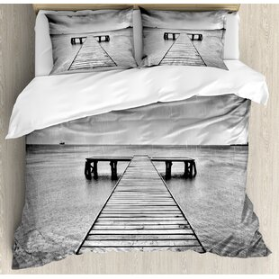 East Urban Home Decorations Old Wooden Pier on Sea Dramatic Sky Heavy Clouds Rainy Weather Duvet Set