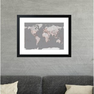 Large framed world map wayfair world map orange framed graphic art print gumiabroncs Image collections