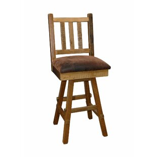 Toyon 30 Barnwood Swivel Bar Stool (Set of 2) Millwood Pines