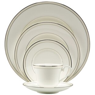 Platinum Beaded Pearl Bone China 5 Piece Place Setting, Service for 1