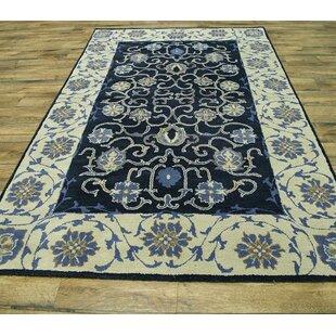 Bovill Agra Oriental Hand-Tufted Wool Black/Beige Area Rug ByCanora Grey
