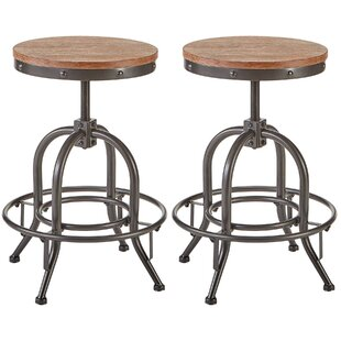 Williston Forge Charlita Adjustable Height Swivel Bar Stool (Set of 2)