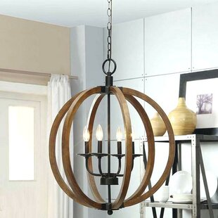 Gracie Oaks Aubrie Wooden 4-Light Globe Chandelier
