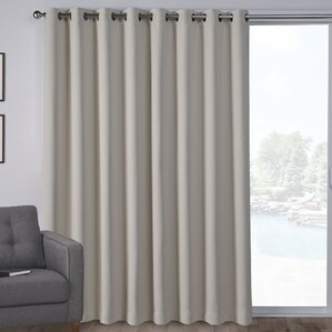 Campanella Sateen Blackout Solid Grommet Top Wide Patio Curtain Panel (Set  Of 2)