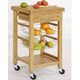 Lemasters Bamboo Kitchen Cart with Storage by Ebern Designs