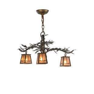 Tree branch chandelier wayfair pine branch valley view 3 light shaded chandelier aloadofball Image collections