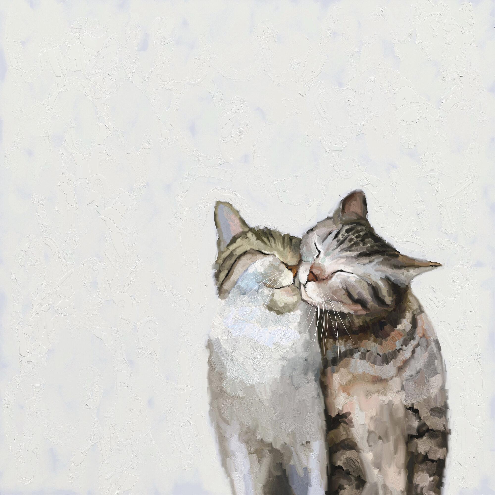 Winston Porter Feline Friends Cat Pair By Cathy Walters Wrapped Canvas Print Wayfair