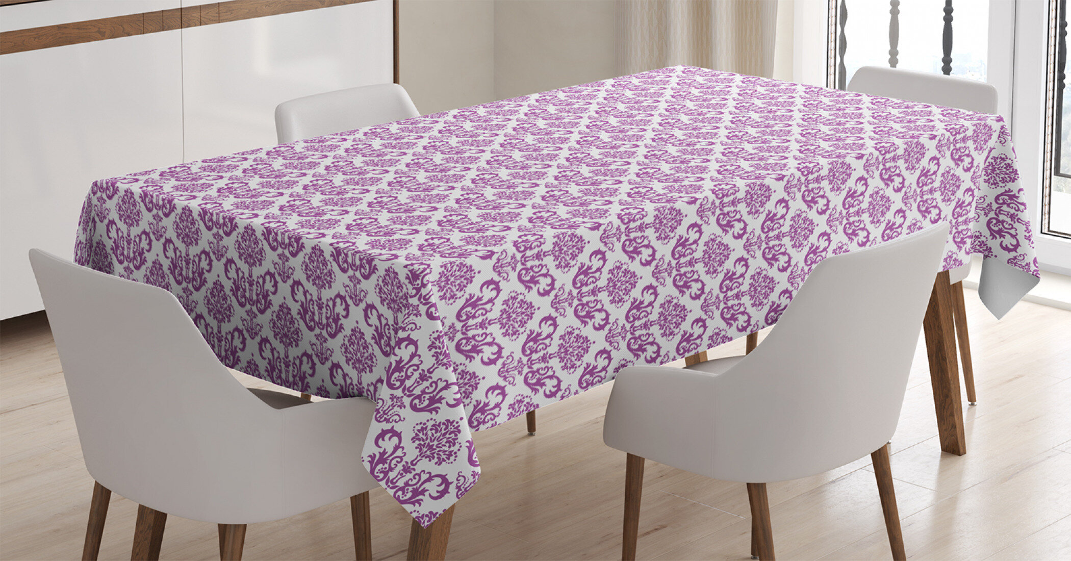 East Urban Home Ambesonne Victorian Tablecloth Floral Lavender Color Bloom Blossoms Flowering Continuous Classy Design Print Rectangular Table Cover For Dining Room Kitchen Decor 60 X 90 Fuchsia Wayfair