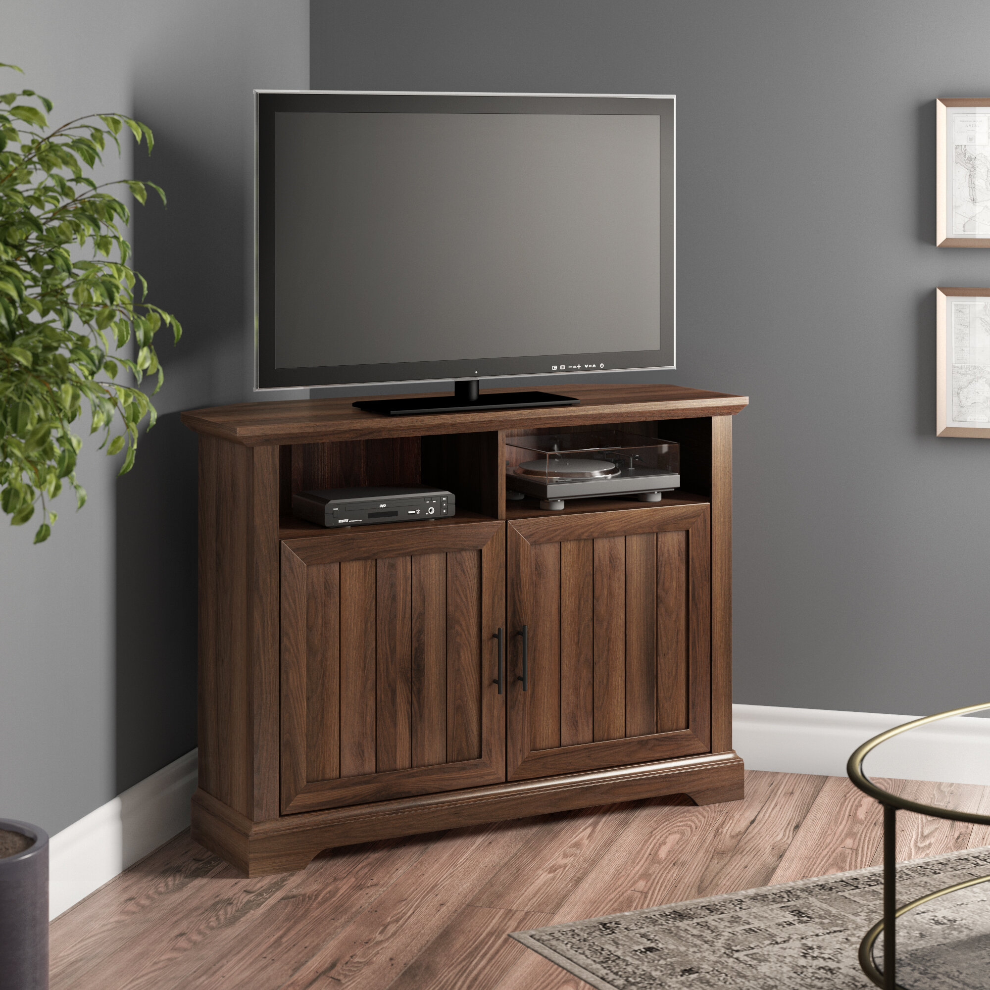 Picture of: Three Posts Tomball Corner Tv Stand For Tvs Up To 48 Reviews