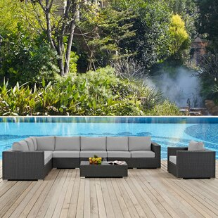 Tripp Patio 7 Piece Rattan Sectional Set With Sunbrella Cushions by Brayden Studio Best