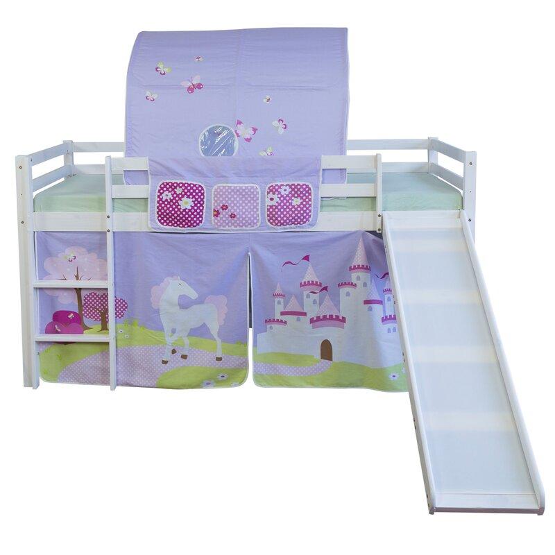 homestyle4u halbhochbett schloss mit rutsche vorhang. Black Bedroom Furniture Sets. Home Design Ideas