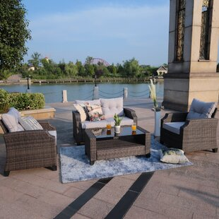 Baptist 4 Piece Rattan Sofa Set with Cushions