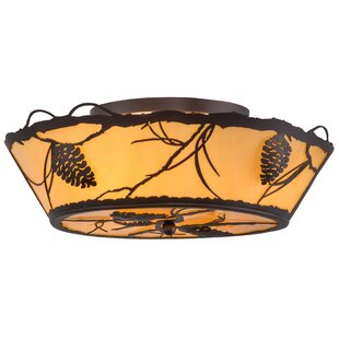 Meyda Tiffany Greenbriar Oak 4-Light Flush Mount