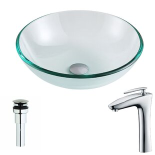 Reviews Etude Glass Circular Vessel Bathroom Sink with Faucet By ANZZI