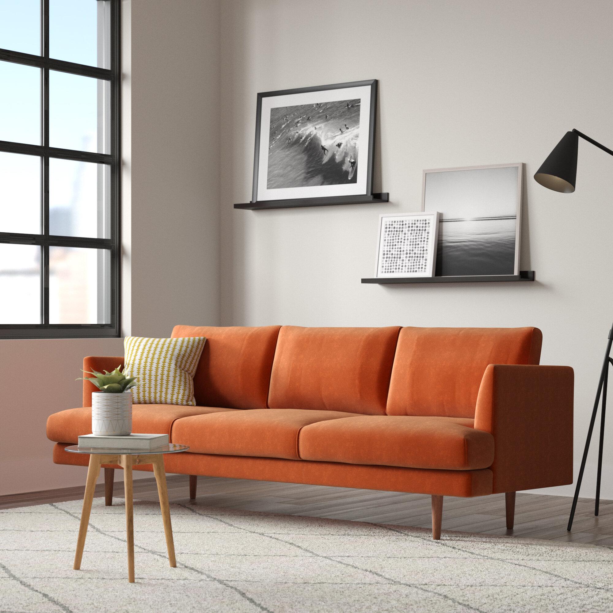 Allmodern Norah 84 Wide Velvet Recessed Arms Sofa Reviews Wayfair