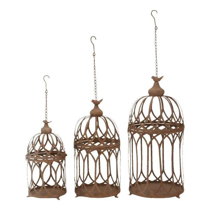 Feliciano Round Hanging Birdcage 3 Piece Wall Decor Set