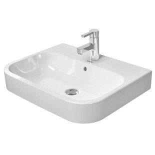Deals Happy D.2 Ceramic Rectangular Vessel Bathroom Sink with Overflow By Duravit