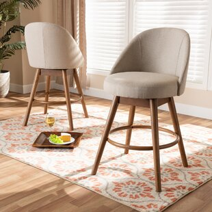 Chickerell Fabric Upholstered Wood 26 Swivel Bar Stool (Set of 2)