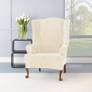 Stretch Plush T-Cushion Wing Chair Slipcover Set by Sure Fit