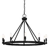 Drubin 10-Light Candle Style Wagon Wheel Chandelier