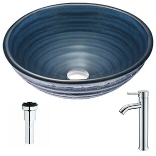 Best Reviews Tempo Glass Circular Vessel Bathroom Sink with Faucet By ANZZI