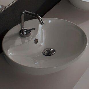 Best Price Ceramic Circular Vessel Bathroom Sink with Overflow ByScarabeo by Nameeks