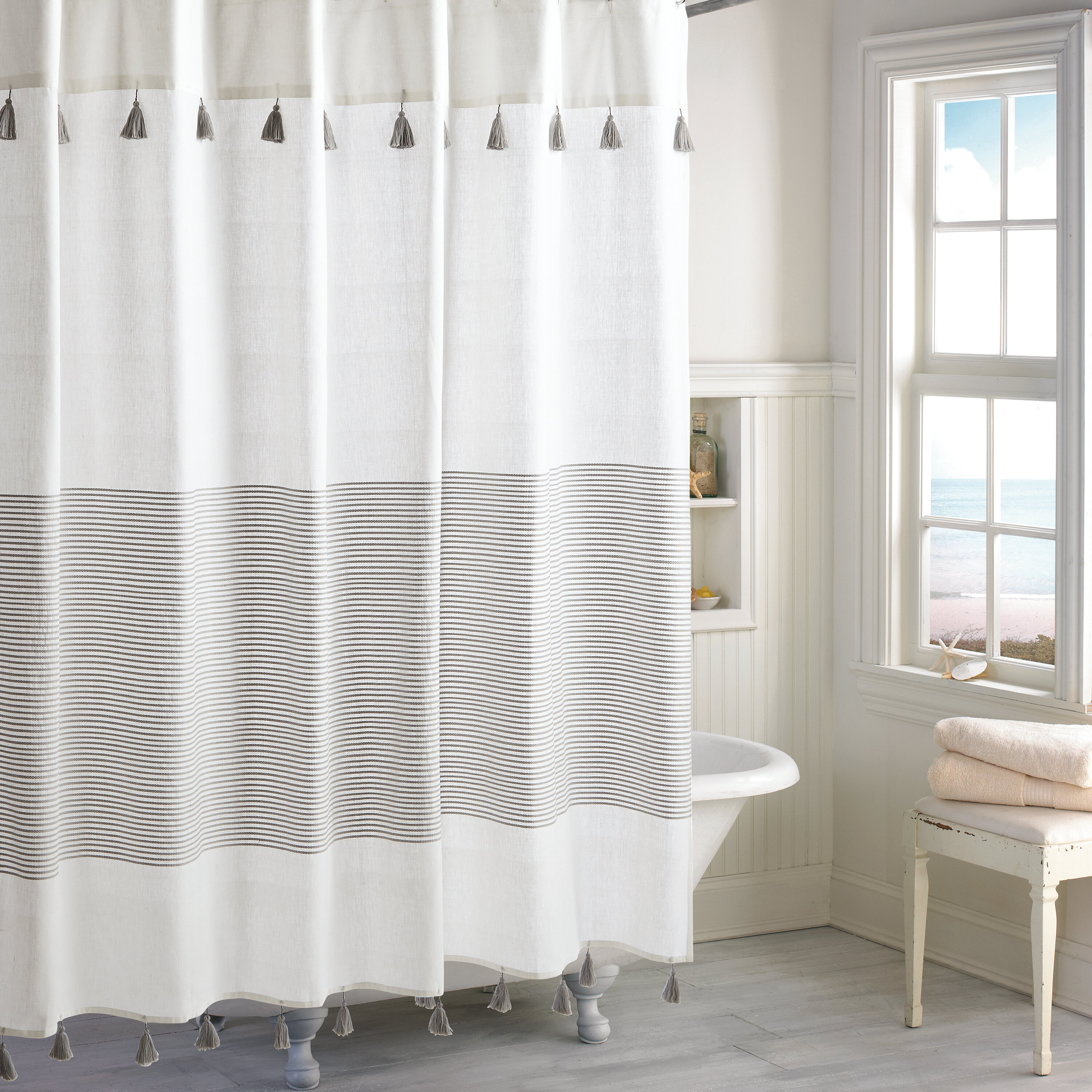 Campanella Stripe Cotton Single Shower Curtain