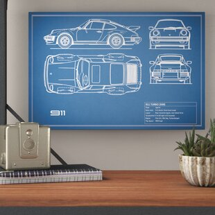 '1977 Porsche 911 Turbo (930)' Graphic Art Print on Canvas in Blue By Trent Austin Design