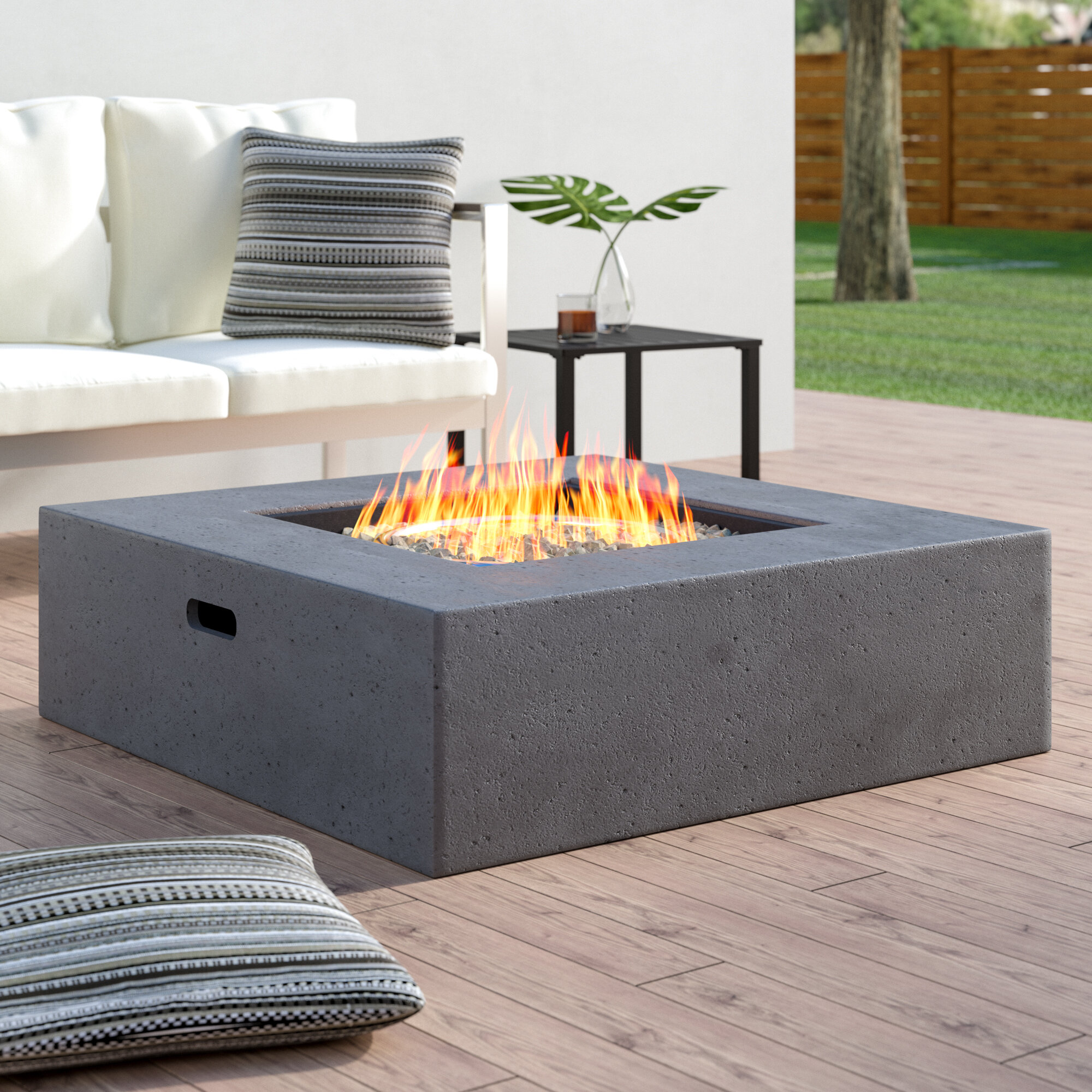Wade Logan Olivet Propane Gas Fire Pit Table Reviews Wayfair