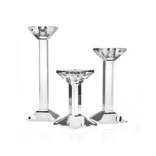 Square 3 Piece Crystal Candlestick Set