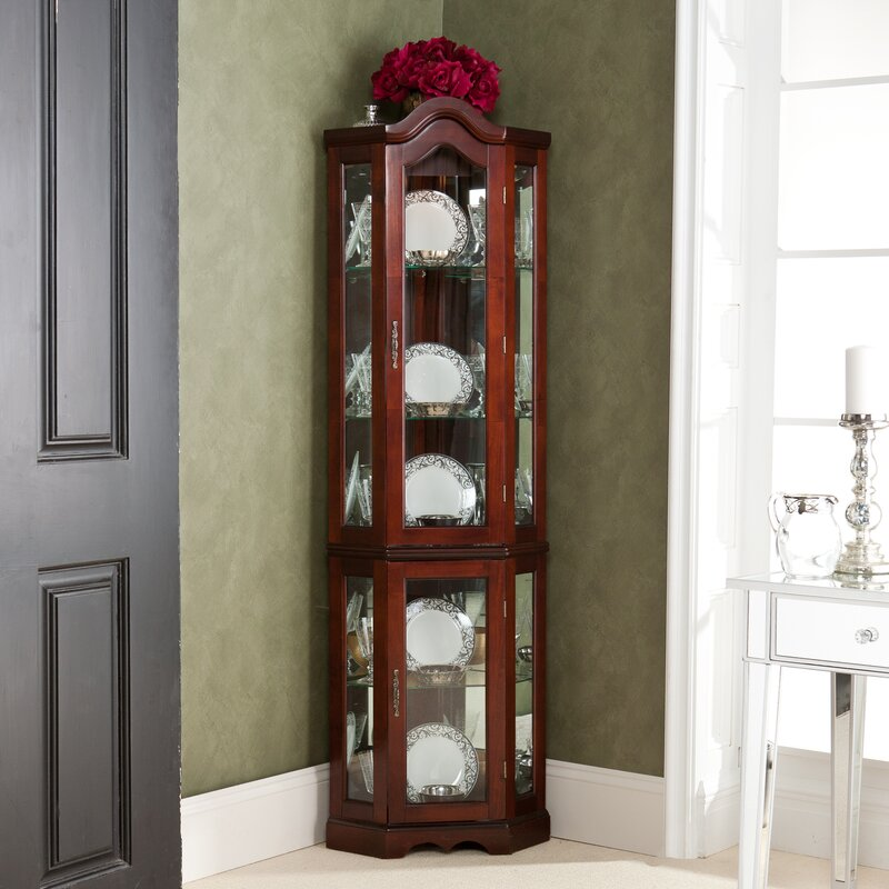Glacier Lighted Corner Curio Cabinet