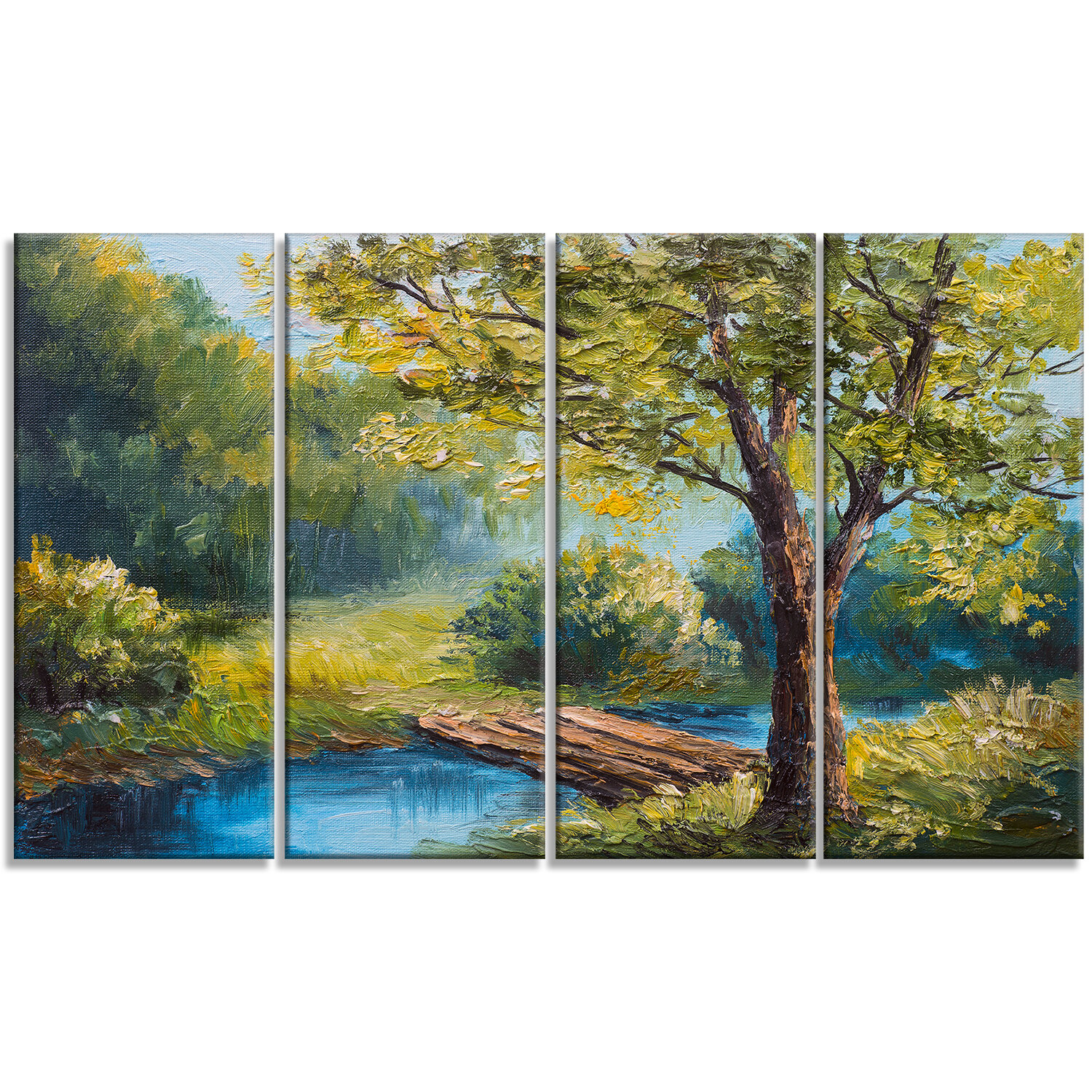 Designart Summer Forest With Beautiful River Landscape 4 Piece Painting Print On Wrapped Canvas Set Wayfair