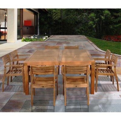 Wabbaseka International Home Outdoor 9 Piece Teak Dining Set by Red Barrel Studio Modern