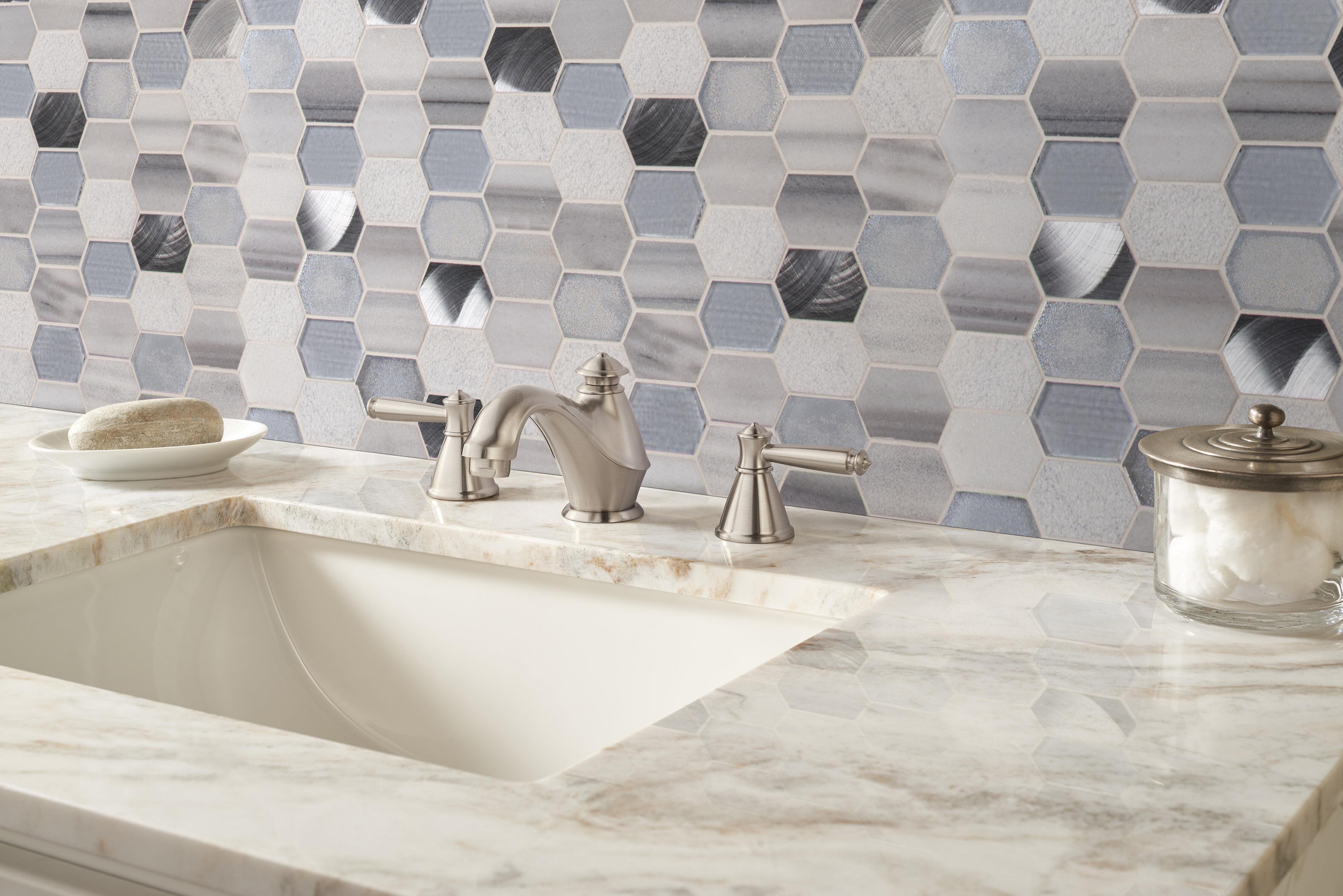 Phenomenal Harlow Picket Glass Stone Mosaic Tile In Gray Download Free Architecture Designs Scobabritishbridgeorg