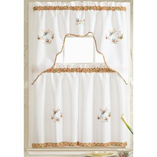 Merveilleux Grand Butterfly Embroidered Kitchen Curtain