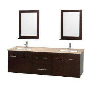 Centra 72 Double Espresso Bathroom Vanity Set with Mirror
