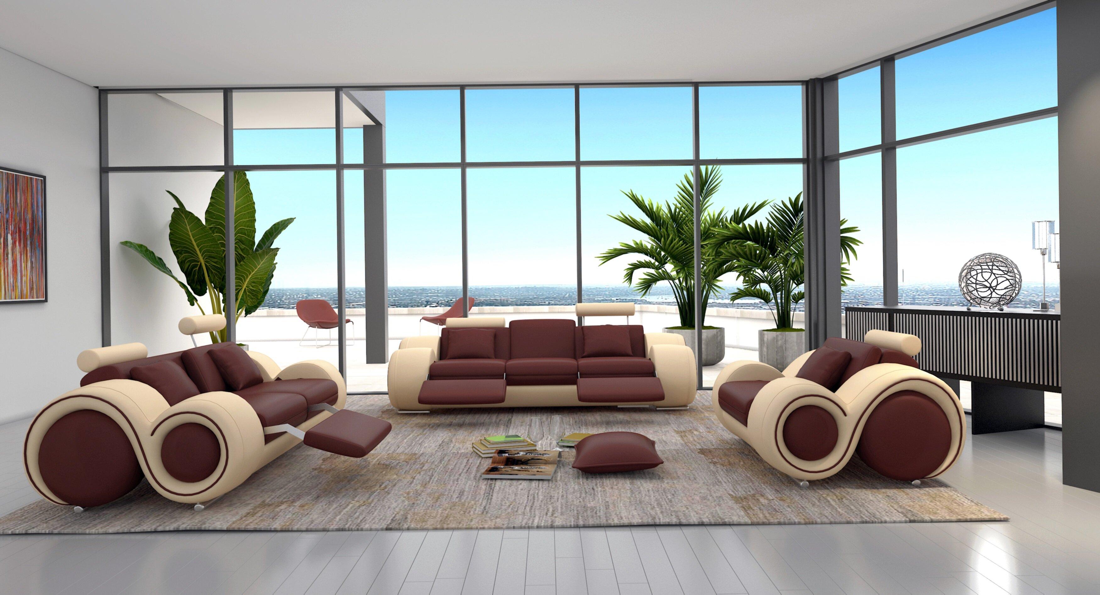 Orren Ellis Behr 3 Piece Leather Living Room Set U0026 Reviews | Wayfair