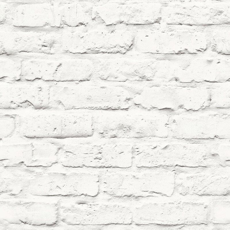 """Halpin Faux Industrial Chic 32.97' x 20.8"""" Brick Wallpaper Roll"""