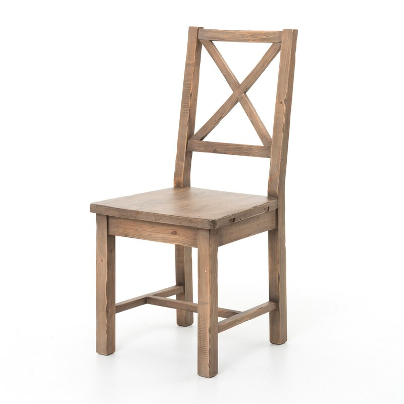 Four Hands Dauphin Solid Wood Cross Back Side Chair In Sundried Wheat Perigold