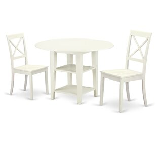 Tyshawn 3 Piece Drop Leaf Breakfast Nook Solid Wood Dining Set Best Design